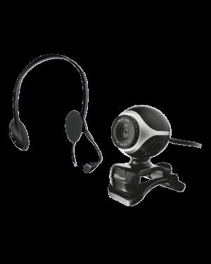17028-TRUST - Outros - Kit WebCam + Fone de Ouvido com Microfone Preto TRUST