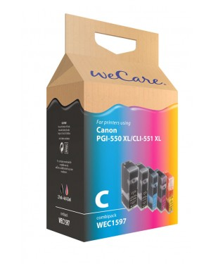 WEC1597 - Wecare - Cartucho de tinta preto ciano magenta amarelo Pixma iP7250 / iP8750 iX6850 MG5450 MG5550 MG5650 MG6350 MG6